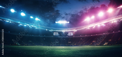 Photo Full stadium and neoned colorful flashlights background