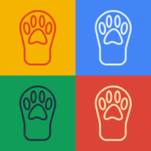 Pop Art Line Paw Print Icon Isolated On Color Background. Dog Or Cat Paw Print. Animal Track. Vector.