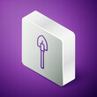 Isometric line Shovel icon isolated on purple background. Gardening tool. Tool for horticulture, agriculture, farming. Silver square button. Vector.