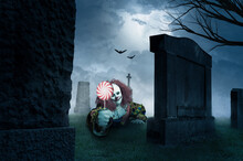 Eerie Clown With A Lolly On A ...