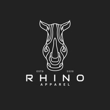 Monoline Style Of Rhino Logo Design. Perfect For Apparel, Fashion And Clothing Company