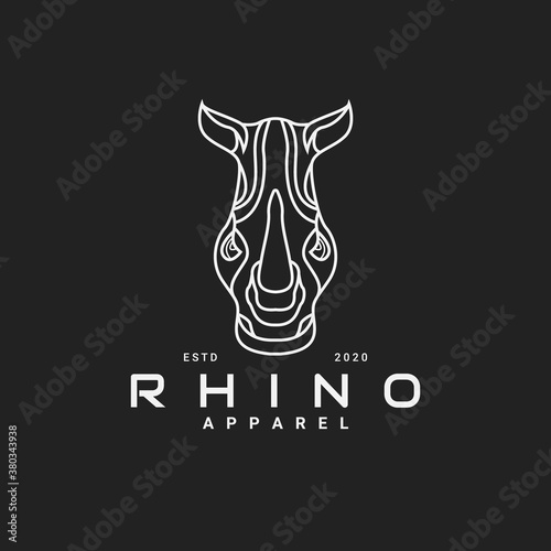 Photo Monoline style of rhino logo design