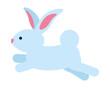 cute rabbit jumping animal farm icon