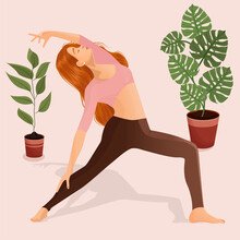 Vector Illustration Of A Young Girl Doing Yoga, Dancing And Sports At Home. The Concept Of Yoga, Meditation, Sports, Healthy Lifestyle, Dancing, Dance Moves, Fitness, Exercise, Gymnastics, Workouts.