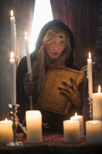 Portrait Of Sorceress In Dark ...