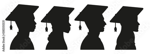 Fotografía African, American, European college girls and boys - students, university graduates in graduation cap and gown silhouette avatar set