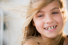 Portrait Of Smiling Blonde Girl (8-9)