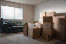 Living Room Filled With Cardboard Boxes