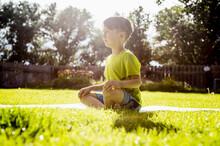 Boy (6-7) Sitting In Grass