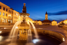 Poland, Podlaskie, Bialostok Fountain On Illuminated Town Square