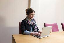Woman Wearing Headset Working ...