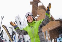 Woman Wearing Ski Googles With...