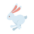 cute little rabbit jumping easter animal icon