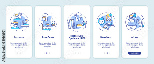 Obraz Sleep disorder types onboarding mobile app page screen with concepts. Problem with nighttime rest walkthrough 5 steps graphic instructions. UI vector template with RGB color illustrations - fototapety do salonu