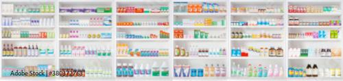 pharmacy drugstore shelves blur pharmaceutical medicine product background