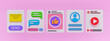 minimal social media apps interface. mail, chat, like, login page, video play icons on pastel pink background. trendy horizontal banner. 3d rendering