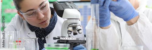 Cuadros en Lienzo Laboratory staff conduct experiments on liquid