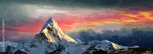 Canvas Print Mount Everest digital art
