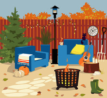 Cozy Backyard In Fall With A Fire Pit, Patio Heater, Chairs, Gardening Tools And Seasonal Decorations, No People, EPS 8 Vector Illustration