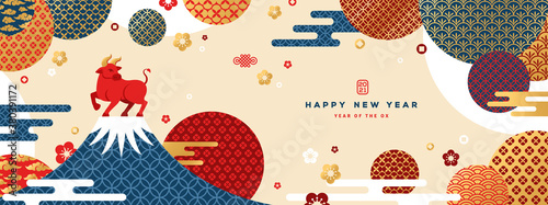 Fototapeta Mount Fuji at sunset with Zodiac Ox on the Top. Japanese greeting card or banner with geometric ornate shapes. Happy Chinese New Year 2021. Clouds and Asian Patterns in Modern Style. obraz