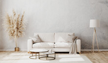 Bright Contemporary Living Room Mockup With Decorative Plaster Wall And Wooden Floor, White Sofa, Floor Lamp And Coffee Table, Living Room Interior Background, 3d Rendering