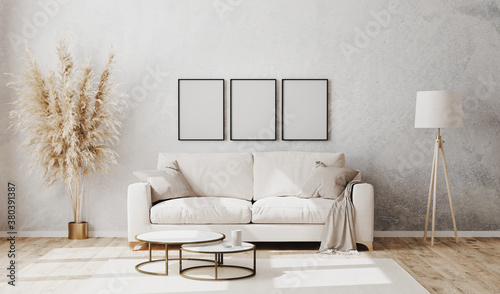 Fototapeta Empty poster frames in bright contemporary living room mockup with decorative plaster wall and wooden floor, white sofa, floor lamp and coffee table, living room interior background, 3d rendering obraz