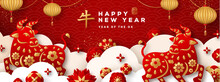 2021 Chinese New Year Banner Or Party Invitation Background With Clouds, Bulls And Flowers In Paper Cut Style. Vector Illustration. Asian Lanterns And Confetti. Place For Text. Hieroglyph Means Ox