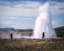 Geysir, Famous Icelandic Spot On A Golden Circle Route. Not Too Many Tourists During Covid Times Due To Travel Restrictions. This Place Is Crowded All Year Round... Well Not This Year.
