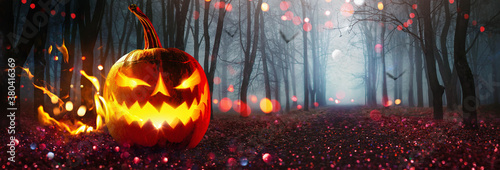 Valokuvatapetti Halloween Pumpkin Glowing With Fire. Holiday Horror Background