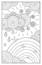 Stylized Black And White Contour Image Of Weather, Vector. The Sun Coming Out From Behind The Clouds, Rain, Rainbow.