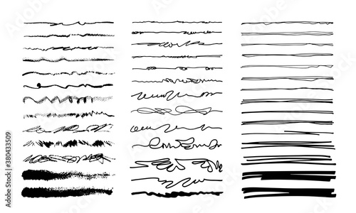 Fototapety, obrazy: Hand-drawn doodle lines. Freehand dividers, borders, scribbles. Art brushes isolated on white.