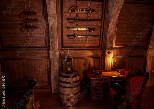 Valokuvatapetti weapons rack in the pirate cabin