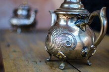 Traditional Metal Teapot On Wo...