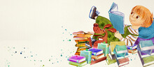 Reading. Watercolor Background For Children