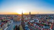 Aerial drone view on Wrocław old town and main square at sunset.