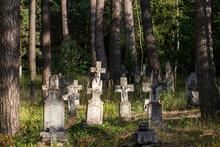 Old Cemetery In The Woods. Old Ukrainian Cemetery In Gorajec.