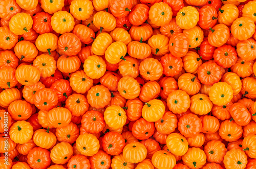 Cuadros en Lienzo Background from orange pumpkins, 3D rendering