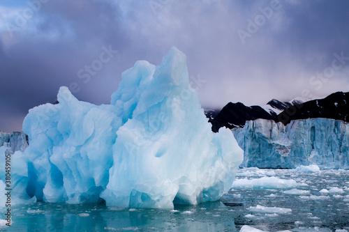 Sveabreen Glacier and Icebergs, Svalbard, Norway