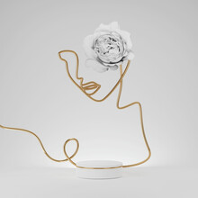 3D Podium Display On White Background. Luxury Line Art, Gold Portrait Of A Woman With White Rose Flower. Pedestal Showcase For Beauty Product And Cosmetic Presentation. Nature Minimal Scene 3D Render