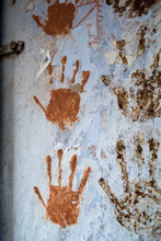 Thumb Impressions On A Village Wall In India