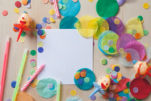 Colourful Confetti And Party Favours / Decorations With Blank Paper For Custom Message