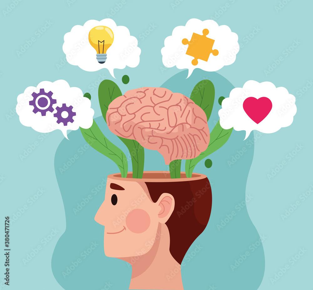 Fototapeta mental health day man profile and brain with set items
