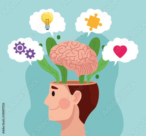 Fototapeta mental health day man profile and brain with set items obraz