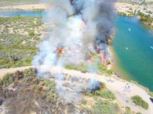 Fire Burning On The Hillside W...