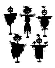A Set Of Silhouettes Of Scarec...