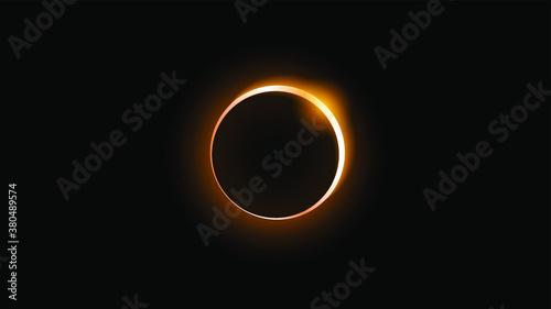 Sun Eclipse Orange Fire Dark Background Vector Moon Design Style Space Science Glow Light