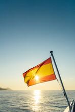 Spanish Flag At Sea