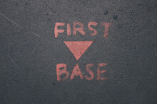 First Base Painted On Concrete