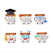 School Student Of Thanksgiving Calendar Cartoon Character With Various Expressions