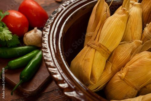 Tamales mexicanos hoja de maiz salsa tomatillo verde picantes chile carne platil Canvas Print